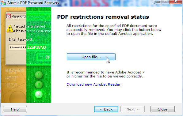Batch removal of restrictions for PDF files. An instant and absolutely guaranteed result. Supports RC4 and AES encryption. PDF can be printed, copied, edited, etc. (the details are here:  apasscracker products/pdf-permissions-password.php)