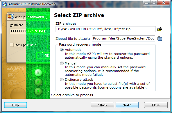 Atomic Zip Password Recovery Screenshot