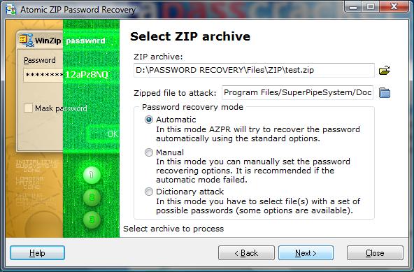 Atomic Zip Password Recovery Screenshot