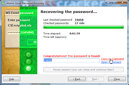 Atomic Excel Password Recovery removes Excel's Password to Open