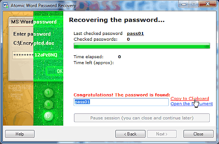Atomic Word Password Recovery finds the password or decrypts locked file